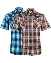 Ely Cattleman Men's Assorted Textured Plaid Short Sleeve Western Shirt, , hi-res