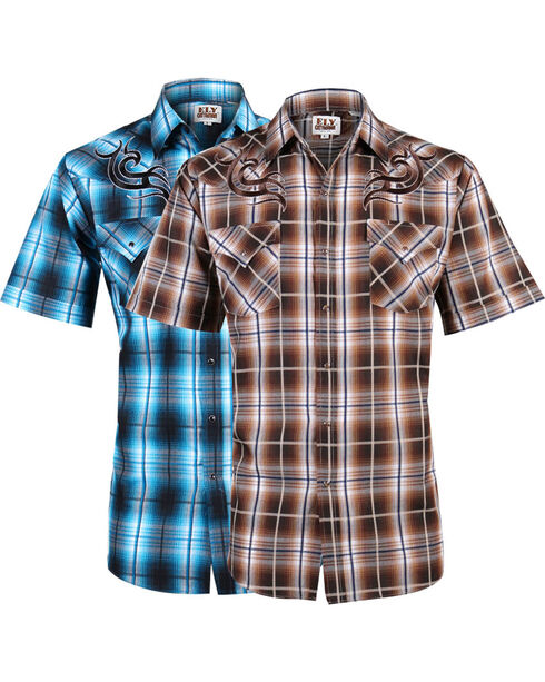 Ely Cattleman Men's Assorted Textured Plaid Short Sleeve Western Shirt, Multi, hi-res