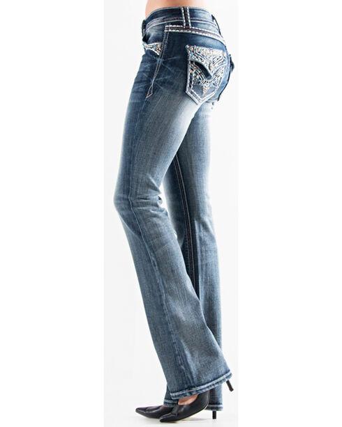 Grace in LA Women's Medium Blue Embellished Button Pocket Jeans - Boot Cut , Medium Blue, hi-res