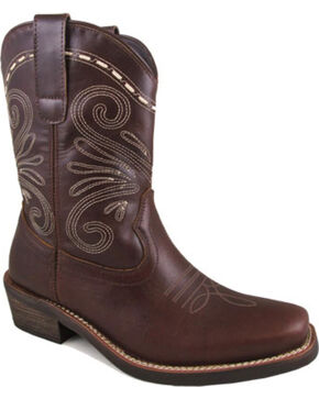 "Smoky Mountain Women's Brown 8"" Josie Boots - Square Toe , Dark Brown, hi-res"
