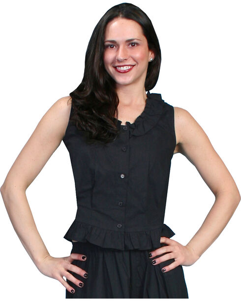 Rangewear by Scully Ruffled Sleeveless Top, Black, hi-res