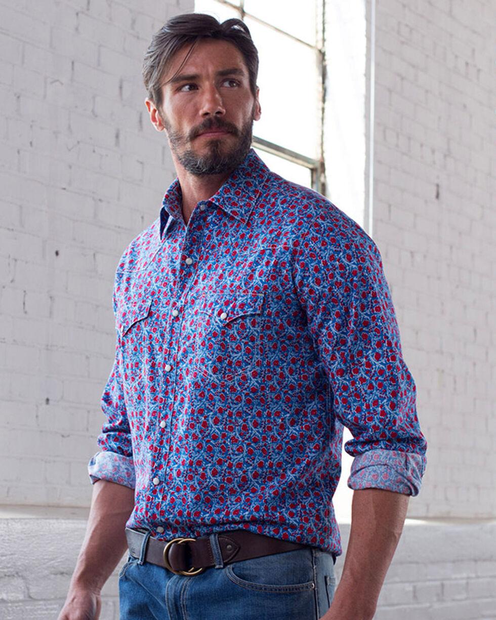 Ryan Michael Men's Bluejay Floral Print Shirt , Blue, hi-res