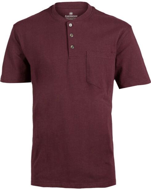 American Worker® Men's Solid Short Sleeve T-Shirt, Wine, hi-res