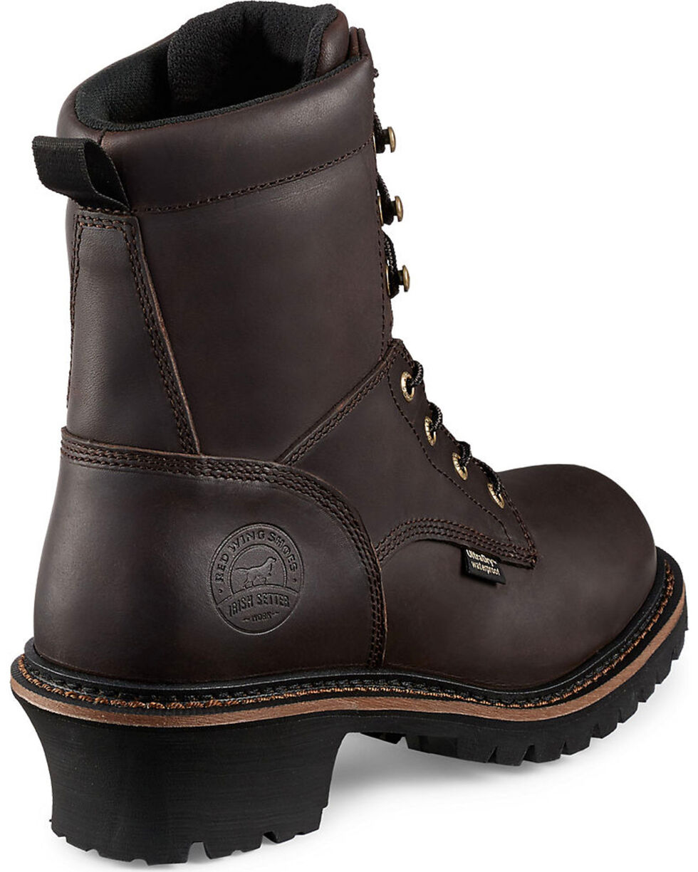 """Irish Setter by Red Wing Shoes Men's Mesabi Dark Brown Insulated Logger 8"""" Work Boots - Steel Toe , Brown, hi-res"""