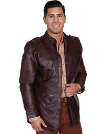 Scully Top Grain Calf Leather Snap Front Jacket, , hi-res