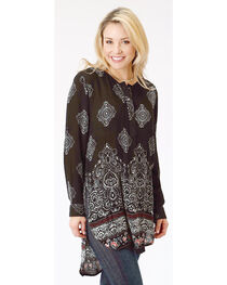 Roper Women's Black Long Sleeve Print Tunic, , hi-res
