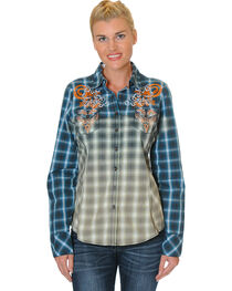 Grace in LA Women's Navy Embroidered Plaid Shirt , , hi-res