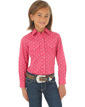 Wrangler Girls' Pink Printed Double Pocket Long Sleeve Western Top , Pink, hi-res