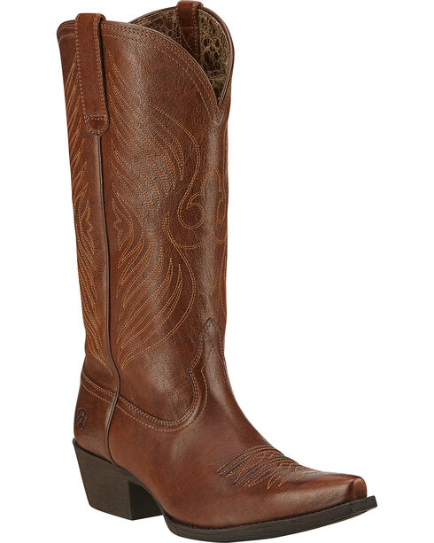 Ariat Women's Round Up X Toe Western Boots, Wood, hi-res