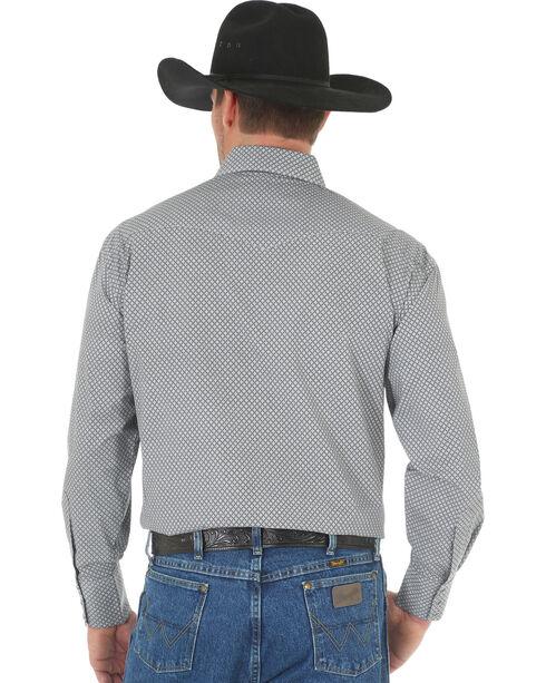 Wrangler George Strait Men's Black/White Printed Poplin Snap Shirt - Big & Tall, Black, hi-res