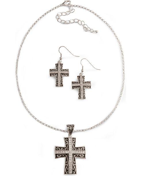 Montana Silversmiths Women's Cross Jewelry Set, Silver, hi-res