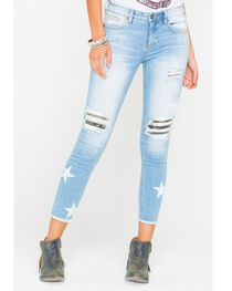 Miss Me Women's Indigo Star Camo Ankle Jeans - Skinny Leg , , hi-res