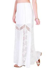 HYFVE Women's White Cutout Maxi Lace Skirt , , hi-res