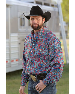 Cinch Men's Paisley Print Long Sleeve Button Down Shirt, Multi, hi-res