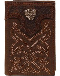 Ariat Men's Tri-Fold Leather Wallet, , hi-res