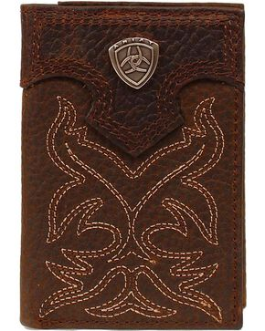 Ariat Men's Tri-Fold Leather Wallet, Brown, hi-res