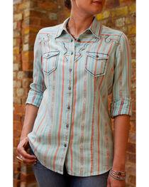Ryan Michael Women's Aqua Navajo Blanket Jacquard Shirt, , hi-res