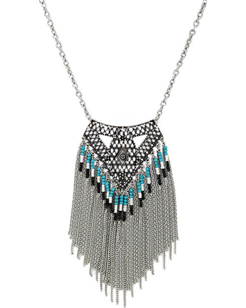 Shyanne® Women's Aztec Waterfall Necklace, Silver, hi-res