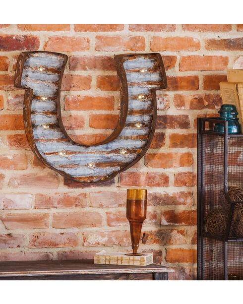 Evergreen Lucky Light-Up LED Horseshoe Wall Art , Steel, hi-res