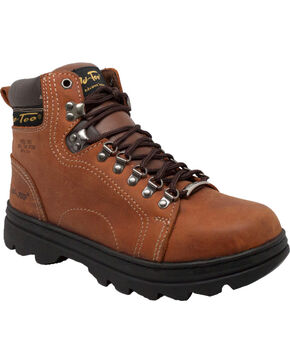 "AdTec Men's 6"" Brown Leather Hiker Work Boots - Steel Toe , Brown, hi-res"