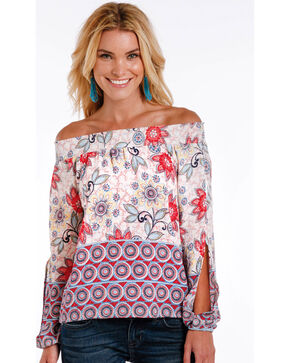 Panhandle Women's Floral Off the Shoulder Long Sleeve Top, Natural, hi-res