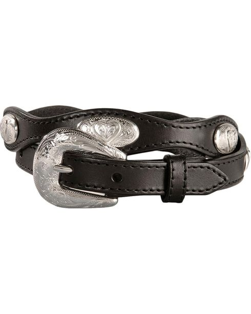 Women's Fancy Heart Conchos Scalloped Belt, Black, hi-res