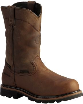 Justin Men's Wyoming Waterproof Internal Met Guard Pull-On Work Boots, Brown, hi-res