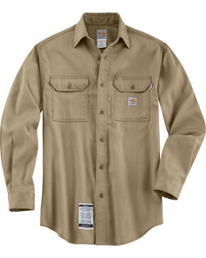 Carhartt Men's Long Sleeve Flame Resistant Dry Twill Work Shirt, Khaki, hi-res