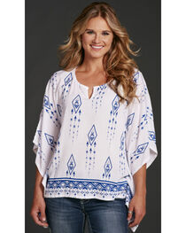Cowgirl Up Poncho Style Tribal Print Blouse, , hi-res