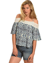 Derek Heart Women's Cold Shoulder Top with Crochet Detail, , hi-res