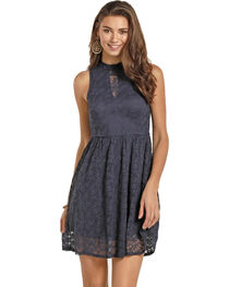 Rock & Roll Cowgirl Women's Navy High Neck Lace Dress , , hi-res