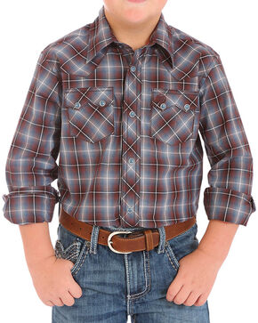 Wrangler Boys' Plaid Western Long Sleeve Shirt, Brown, hi-res