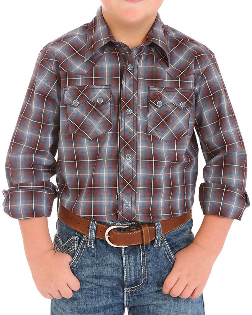 Wrangler Boys' Plaid Western Long Sleeve Shirt, Brown, hi-res
