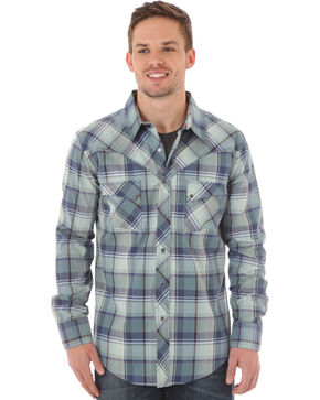 Wrangler Men's Blue Plaid Western Jean Shirt, Blue, hi-res