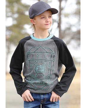 Cinch Boys' Lead This Life Raglan Tee, Charcoal, hi-res