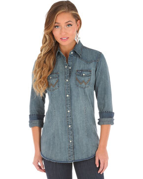 Wrangler Women's Denim Western Snap Long Sleeve Shirt, Indigo, hi-res