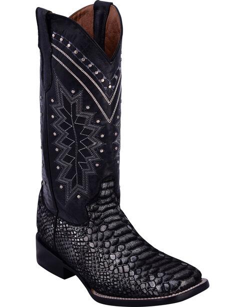Ferrini Women's Black Print Python Cowgirl Boots - Square Toe, Black, hi-res