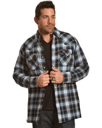 Ely Cattleman Men's Blue Faded Quilted Flannel Jacket , , hi-res