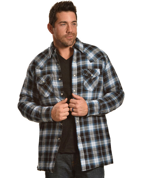 Ely Cattleman Men's Blue Faded Quilted Flannel Jacket , Blue, hi-res