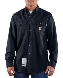 Carhartt Men's Long Sleeve Flame Resistant Work Shirt, Navy, hi-res