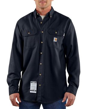 Carhartt Men's Long Sleeve Flame Resistant Work Shirt, Navy, hi-res