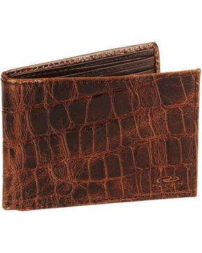 Roper Croc Print Leather Bi-Fold Wallet, Brown, hi-res