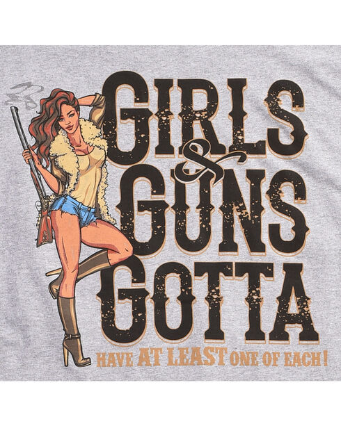 Cowboy Up Men's Girls & Guns Tee, Grey, hi-res