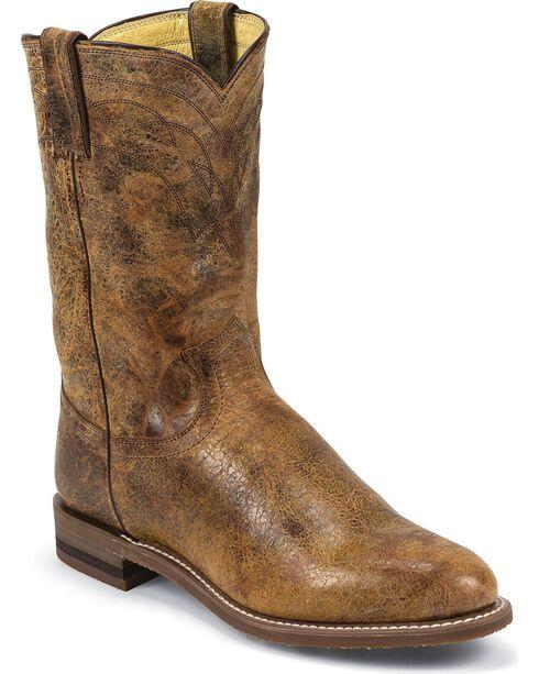 Justin Men's Road Roper Western Boots, Tan Distressed, hi-res