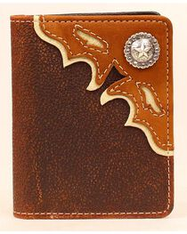 Nocona Cutout Leather Overlay Star Concho Bi-Fold Wallet, , hi-res