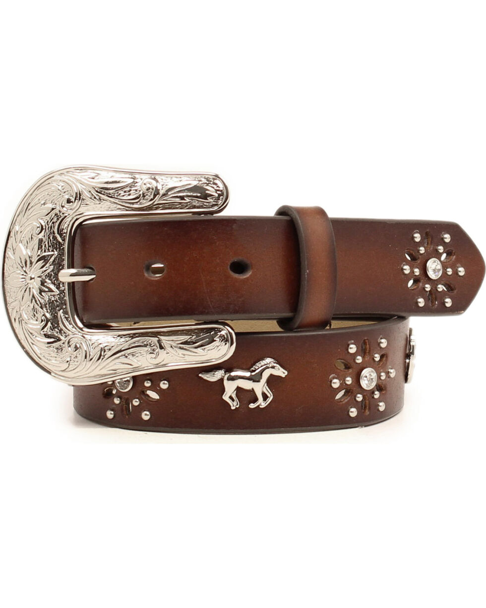 Ariat Girls' Rhinestone Horses Concho Western Belt, Brown, hi-res