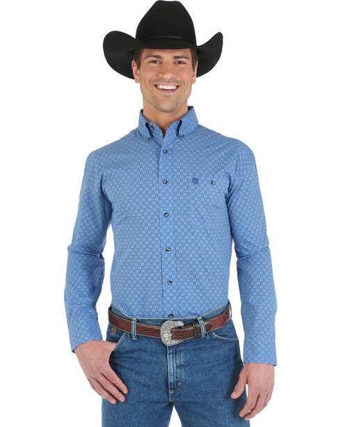 Wrangler George Strait Topaz Blue Print Poplin Western Shirt, Blue, hi-res