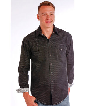Rough Stock by Panhandle Men's Sheffield Antique Shirt , Black, hi-res