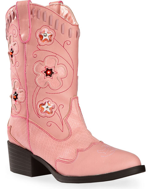 Roper Kid's Light Up Western Boots, Pink, hi-res