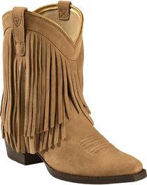 Ariat Girls' Gold Rush Rustic Brown Fringe Western Boots, , hi-res